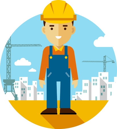 Builder worker on on construction background with buildings and tower cranes