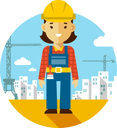 coverall: Woman  builder worker on on construction background with buildings and tower cranes