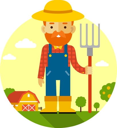 coverall: Farmer with pitchfork on farm garden background