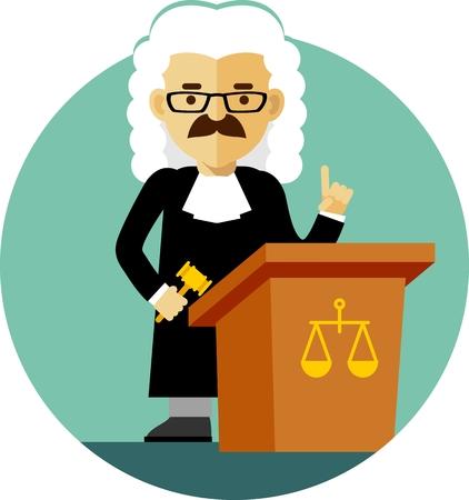 Rechter-concept in een pruik en jurk met een hamer