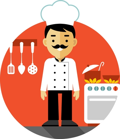 Chef cook man in uniform on kitchen background in flat style Ilustração