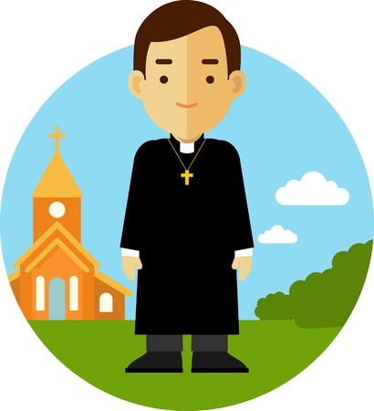 Uomo sacerdote cattolico in sottana sulla chiesa di sfondo in stile appartamento