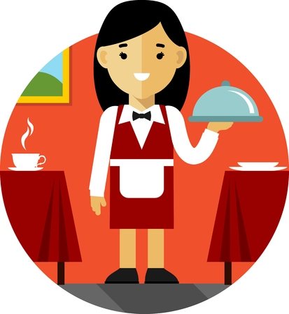 service icon: Young women waitress with tray on restaurant background in flat style