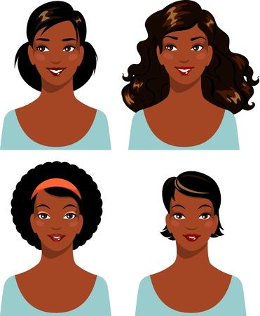 Afrikaanse Amerikaanse jonge mooie vrouw gezichten op een witte achtergrond