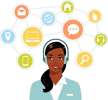 call center woman: Mujer hermosa del afroamericano en call center y los iconos de red plana
