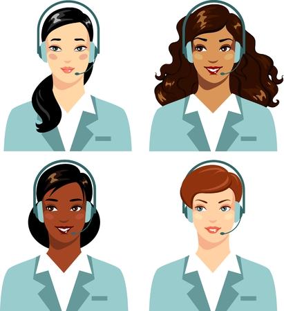 Hermosas mujeres diferentes étnicas de centro de llamadas aisladas sobre fondo blanco Ilustración de vector