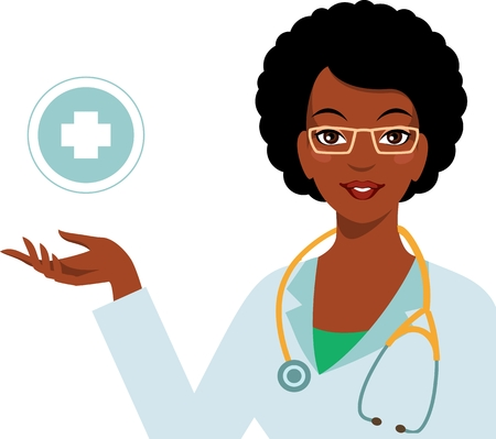hospital cartoon: Friendly smiling african american woman doctor and cross sign Illustration