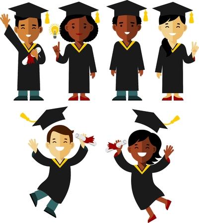 젊은 졸업생 다른 인종 여자와 남자 캐릭터는 흰색 배경에 고립 일러스트