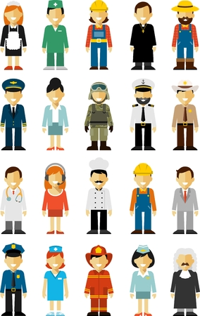 police cartoon: Different people professions characters isolated on white background