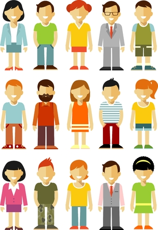 Different people smiling characters isolated on white background Vector