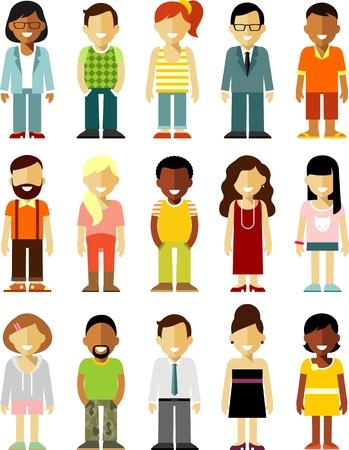 personnage: Différentes personnes caractères souriant isolé sur fond blanc Illustration
