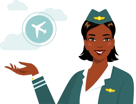 african woman at work: Beautiful young african american smiling stewardess isolated on white background