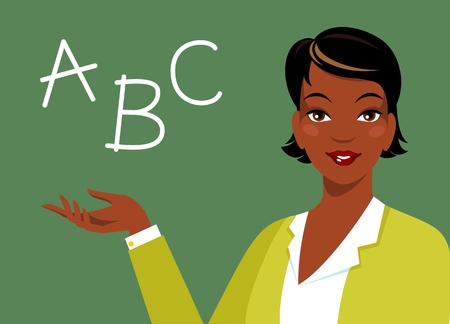 African american smiling woman teacher in front of chalkboard