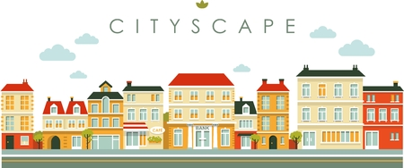Town panoramic cityscape seamless background in flat style
