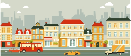 business scene: Town panoramic cityscape seamless background in flat style