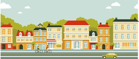 carro caricatura: Paisaje urbano panor�mica Ciudad de fondo sin fisuras en el estilo plana
