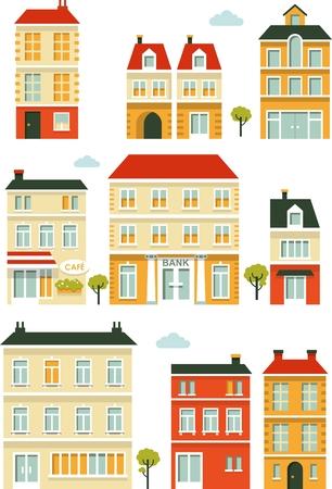 플랫 스타일에서 도시 건물과 주택