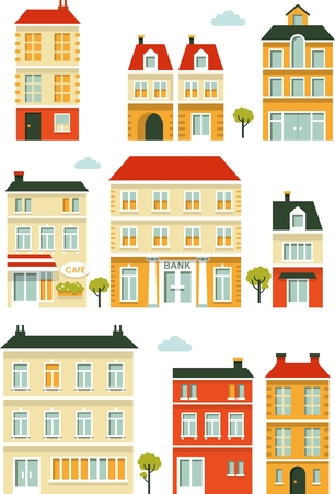 gebouwen en huizen stad in vlakke stijl Stock Illustratie