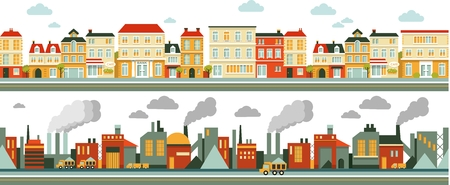 Town and industrial factory panoramic seamless background in flat style