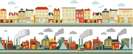 町、産業フラット スタイルで工場パノラマ シームレス背景