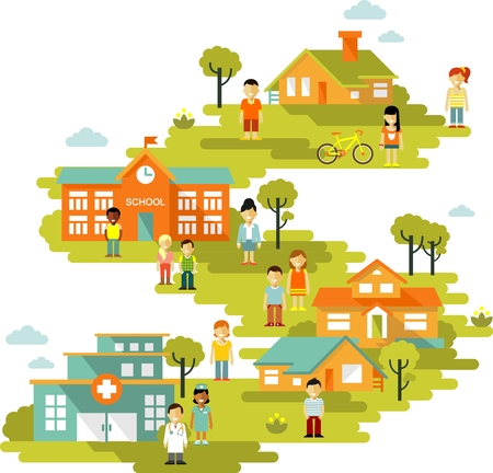 style: Citt� sfondo paesaggio urbano con edifici e persone in stile appartamento