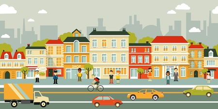 city people: Town panoramic cityscape seamless background in flat style