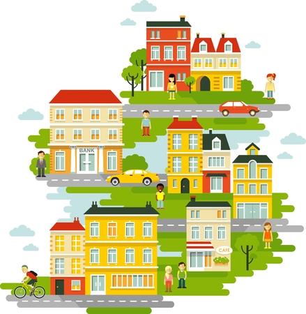 Stad stadsgezicht achtergrond met gebouwen en mensen in vlakke stijl Stock Illustratie