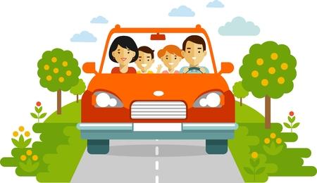manejando: Familia en un coche rojo que viajan juntos. Ilustración de estilo plana Vectores