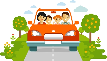 woman driving car: Family in a red car traveling together. Illustration in flat style