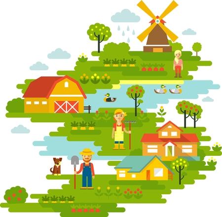 Farm garden panorama background view with people, plants and houses Vector