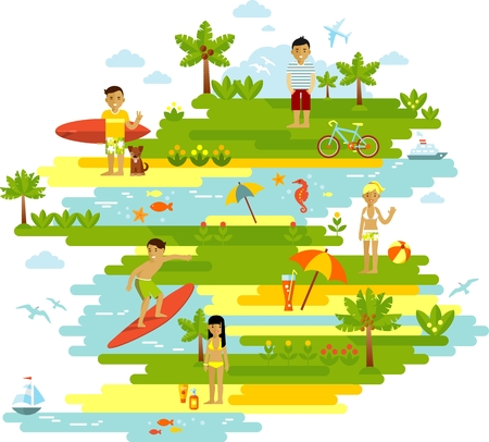 beach sea: Concept of summer vacation with island, sea and summer activity people
