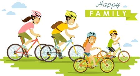 andando en bicicleta: Familia en las bicis padre, madre e hijos Vectores