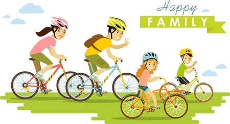 exercise cartoon: Family on bikes father, mother and kids Illustration