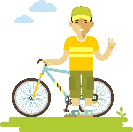 Bicyclist with bike isolated on white background