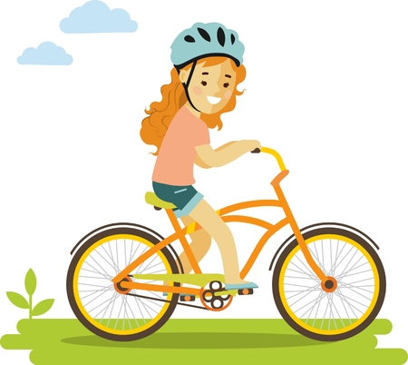Smiling little girl in helmet riding on bicycle Vectores