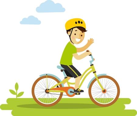 Lachende kleine jongen in helm rijden op de fiets Stock Illustratie