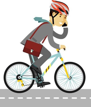 Young businessman with briefcase and smartphone riding a bike Vectores
