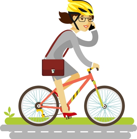 road cycling: Young businesswoman with briefcase and smartphone riding a bike