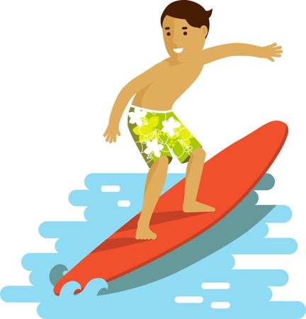 Smiling surfer riding sea waves on ocean background in flat style Ilustrace