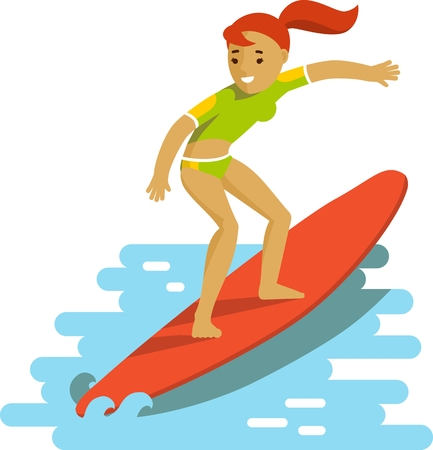 surf silhouettes: Smiling surfer girl riding sea waves on ocean background in flat style