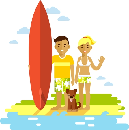 surfboard: Smiling surfer girl and boy couple with surfboard and dog on ocean beach background in flat style Illustration