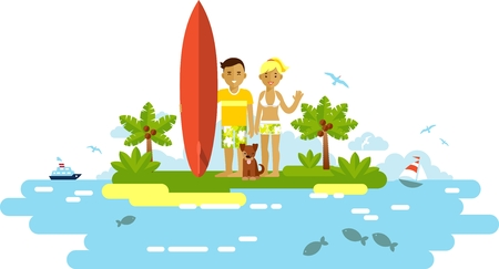 Smiling surfer girl and boy couple with surfboard and dog on ocean beach background in flat style Illustration