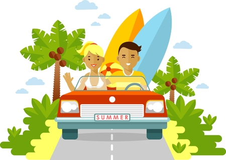 happy couple beach: Summer travel couple in cabrio red car with surfboards in flat style