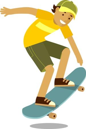 Summer activity skateboarding concept with boy and skateboard Vectores