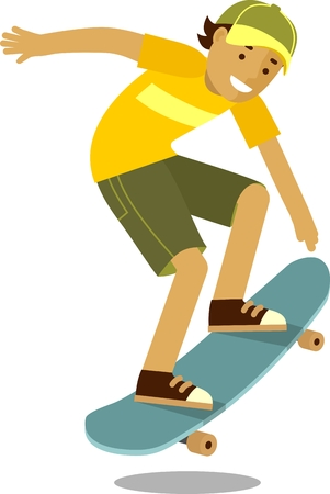 Summer activity skateboarding concept with boy and skateboard Stock Illustratie