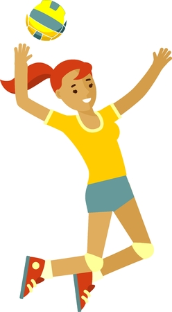 Summer activity volleyball concept with smiling beautiful girl