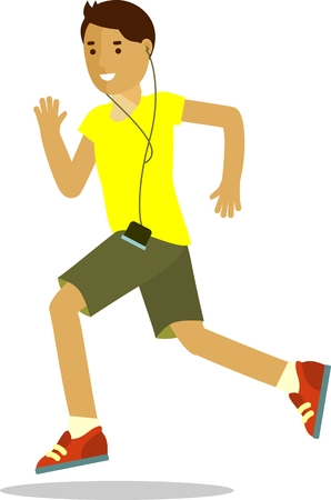 jogging: Summer activity run jogging concept with smiling runner man