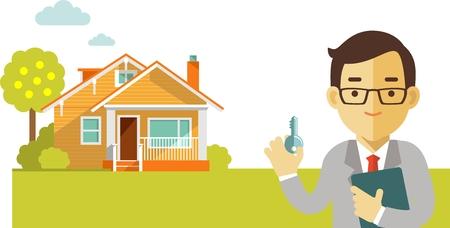 Makelaar man met sleutel op huis achtergrond