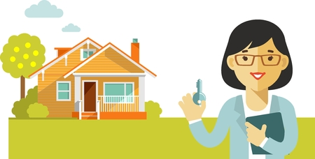 sell house: Realtor woman with key on house background