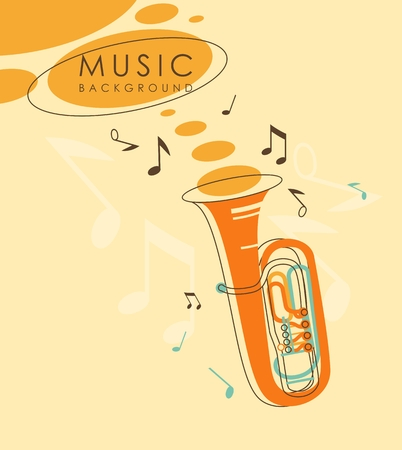 wind instrument: Background with wind musical instrument tuba in vintage sketch style Illustration